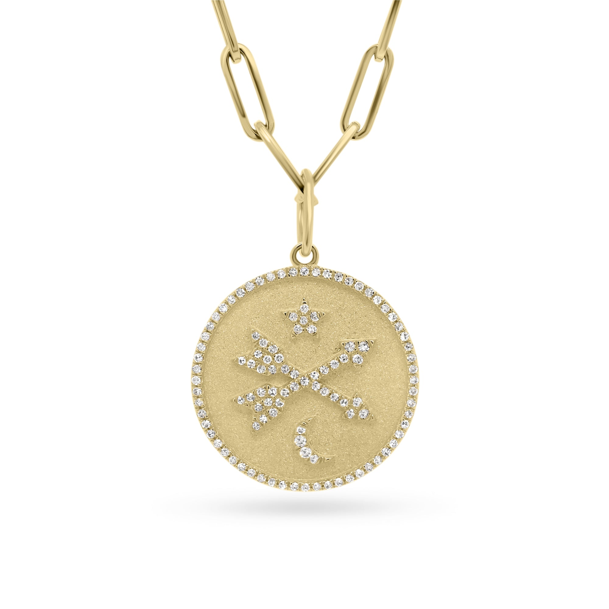 Diamond Crossed Arrows, Star & Moon Medallion Necklace