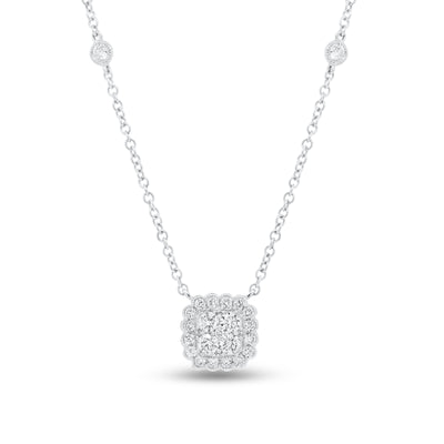 Diamond Cushion Cluster Pendant with Bezel-Set Diamond Stations