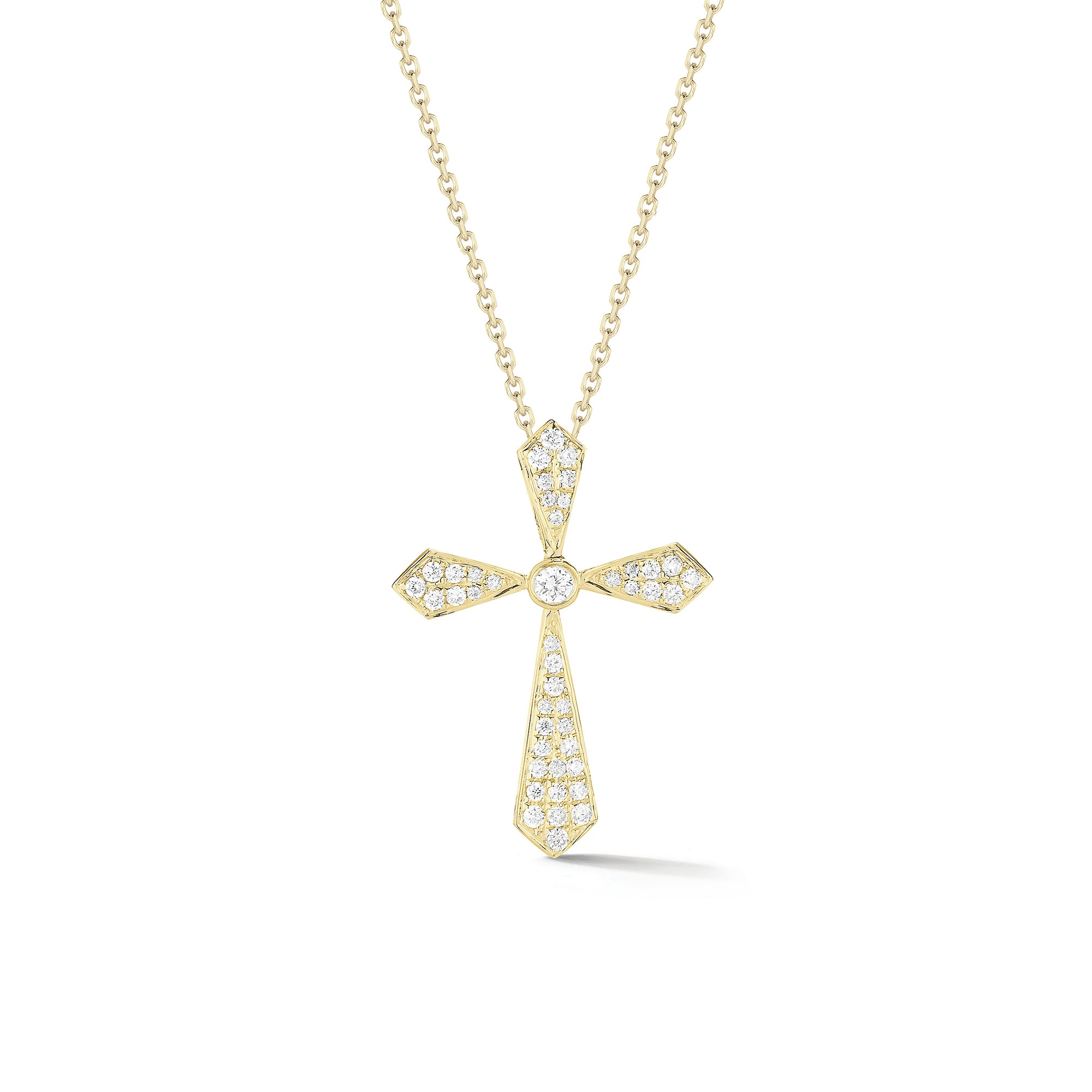 Pave Diamond Cross Pendant Necklace