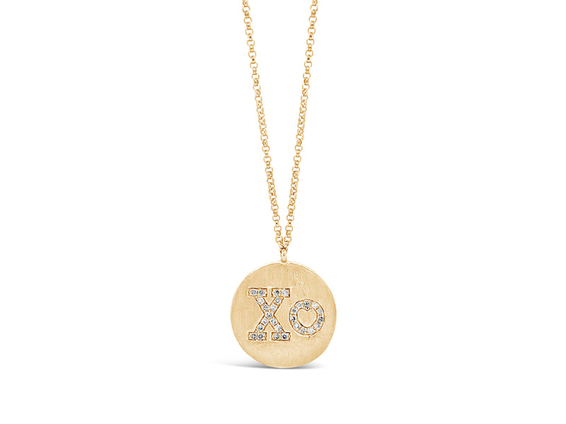 "Diamond ""XO"" Disc Pendant Necklace"