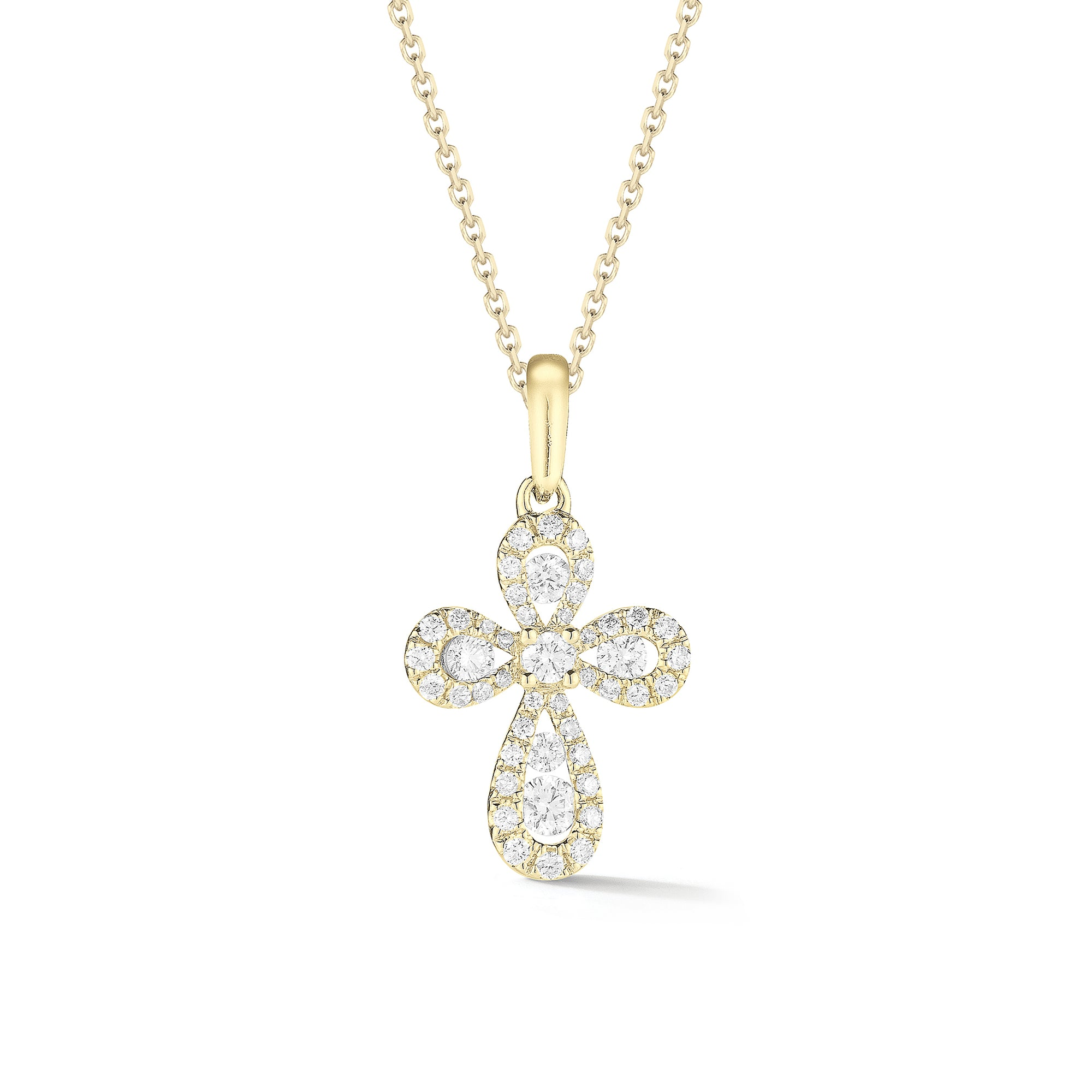 Diamond Mini Rounded Cross Pendant