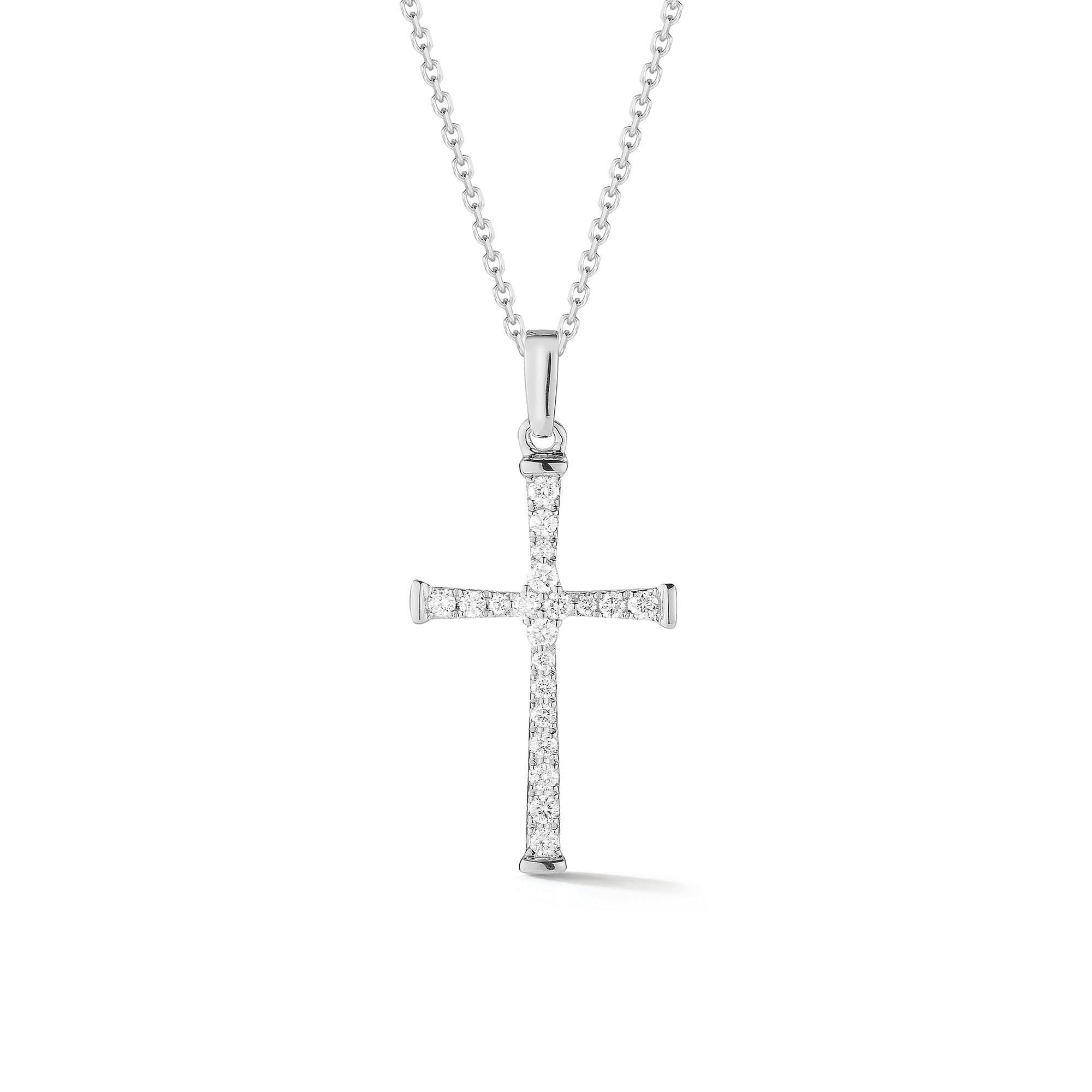 Diamond Skinny Cross Pendant Necklace