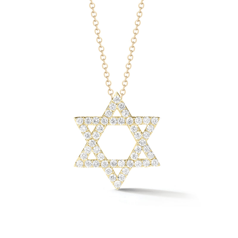 Diamond Large Star of David Pendant Necklace