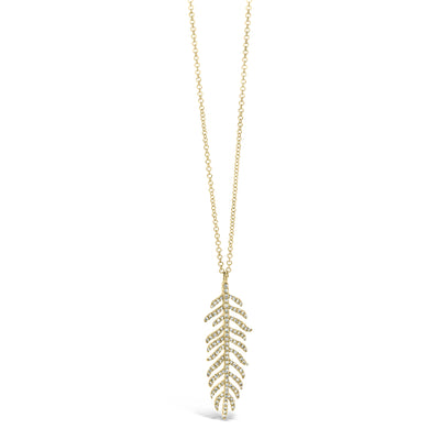 Diamond Feather Pendant Necklace