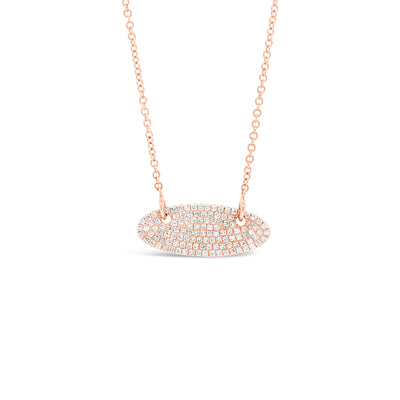 Pave Diamond Vertical Oval Pendant Necklace