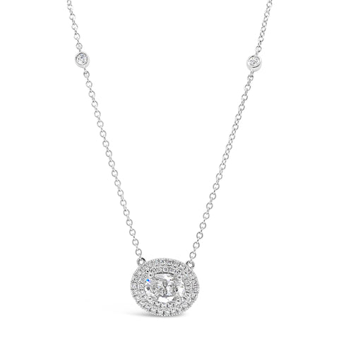 Diamond Oval Double Halo Pendant Necklace