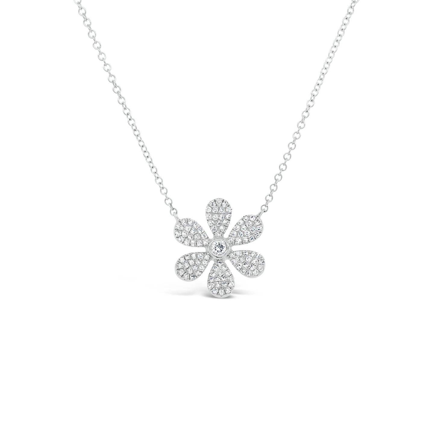 Pave Diamond Daisy Pendant Necklace