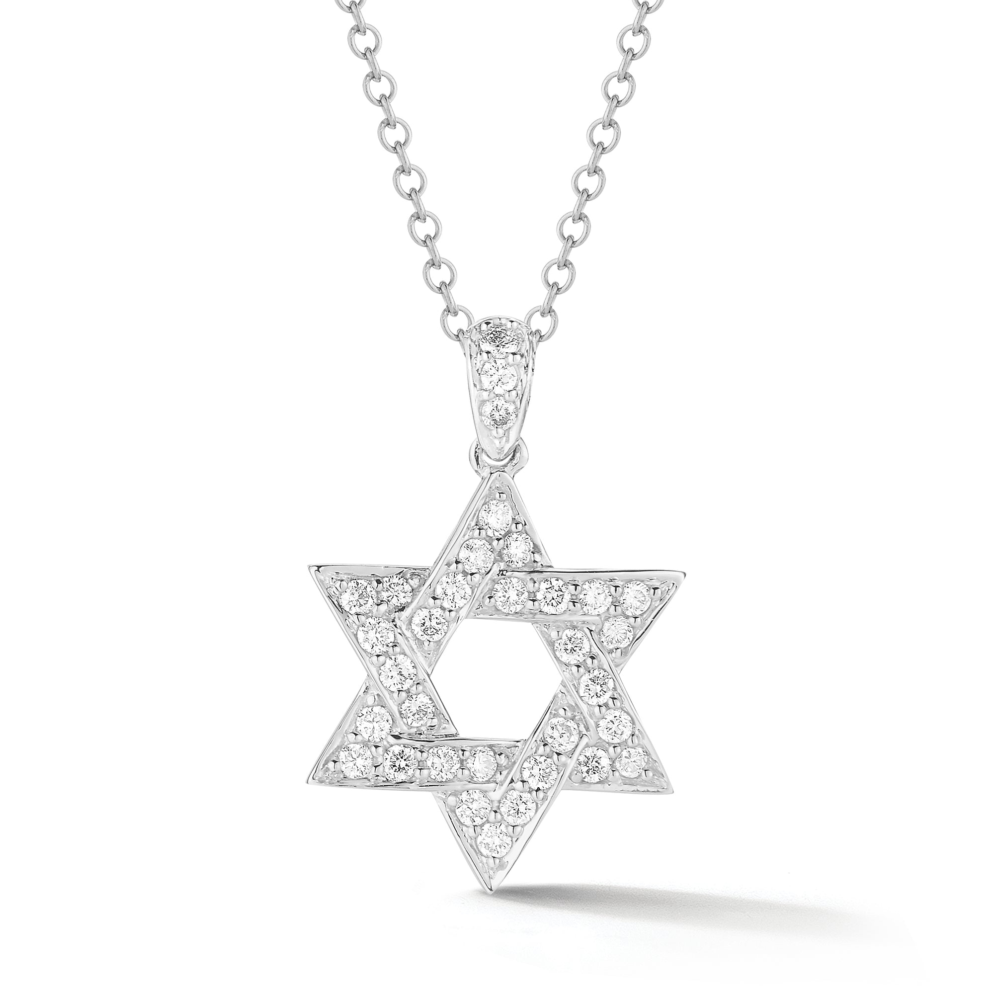 Diamond Star of David Pendant with Diamond Bail