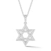 Diamond Star of David Pendant with Diamond Baguettes