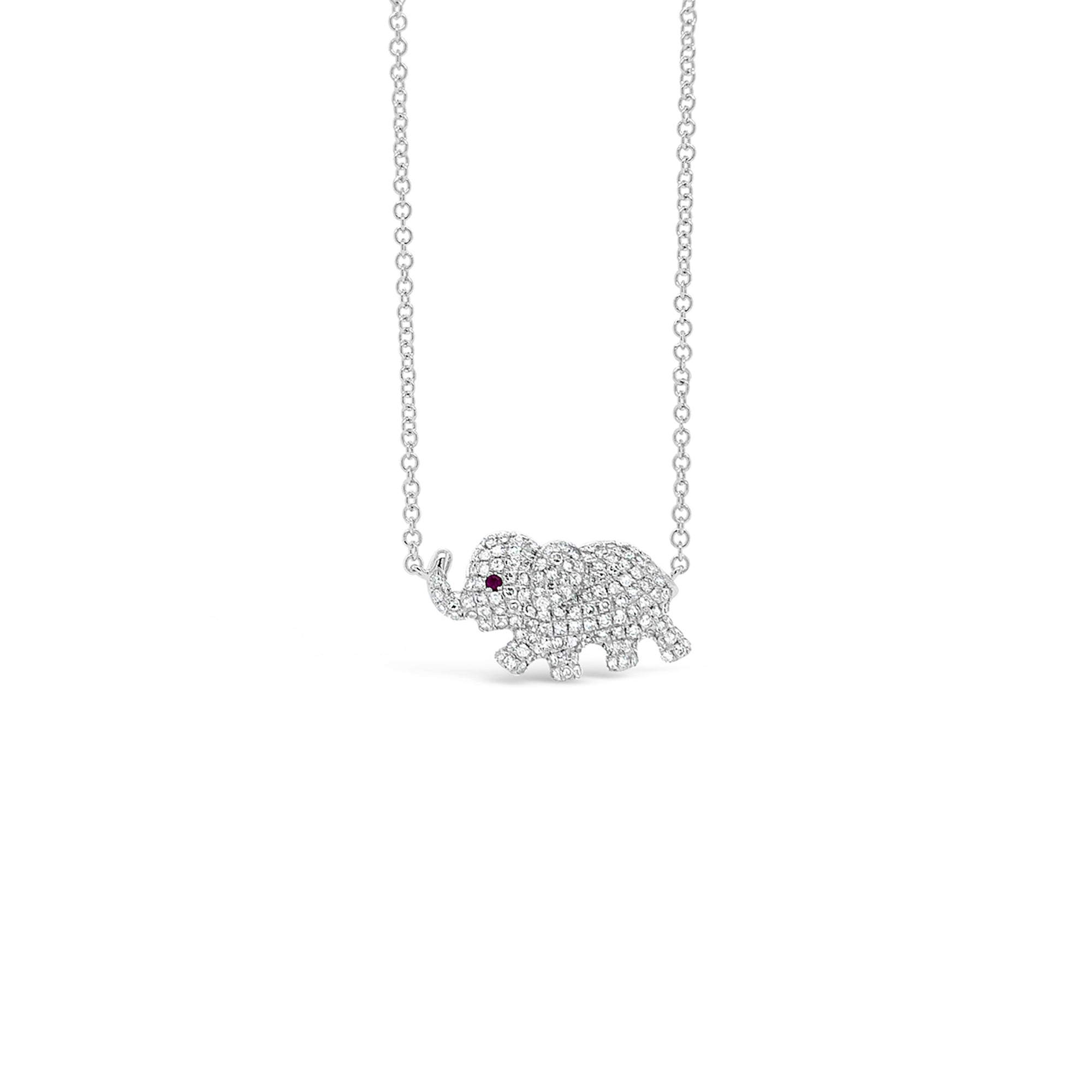 Pave Diamond Elephant Pendant Necklace