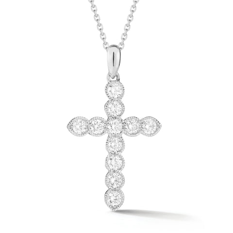 Bezel-set Diamond Cross Pendant