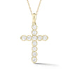 Bezel-Set Diamond Cross Pendant with Antique Milgrain
