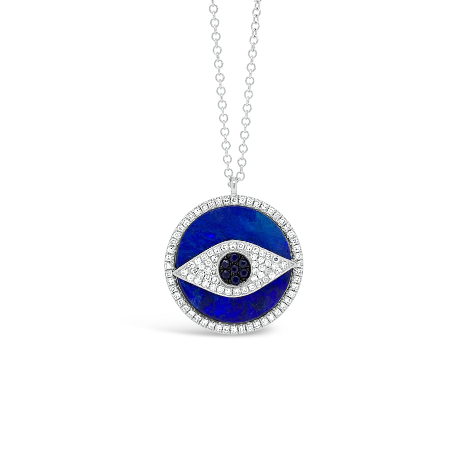 Opal & Diamond Evil Eye Pendant Necklace