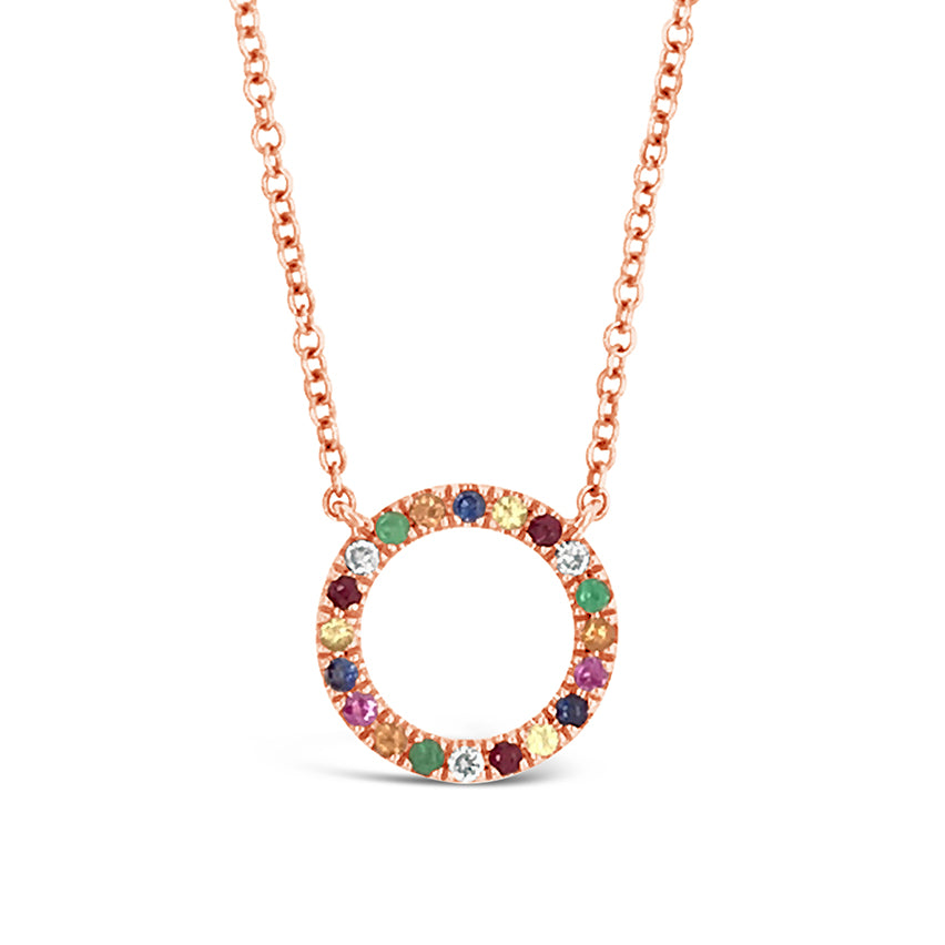 Multi-color Circular Pendant Necklace
