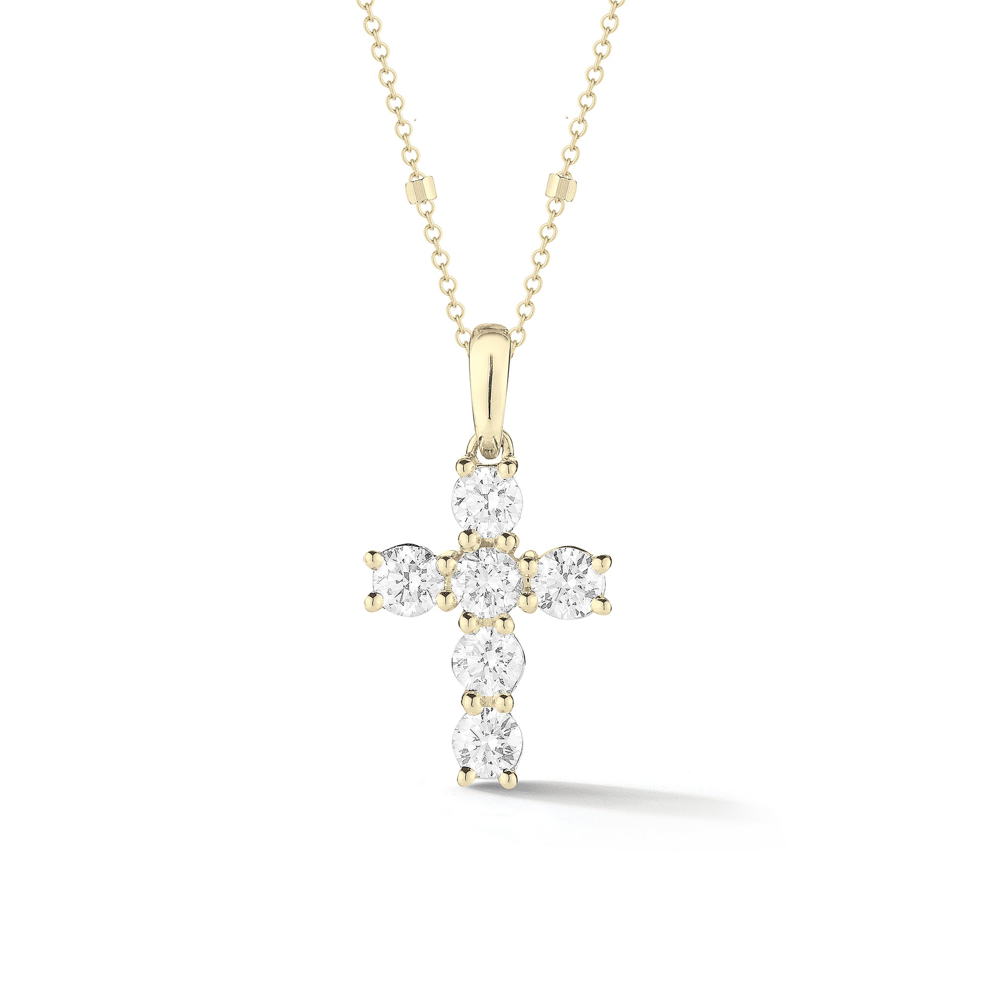 Mini Diamond Cross Pendant with Gold Accented chain
