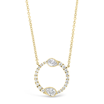 Round & Pear-Shaped Diamond Circle Pendant Necklace