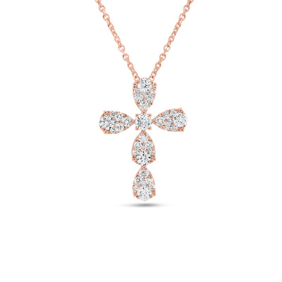 Diamond Teardrops Cross Pendant