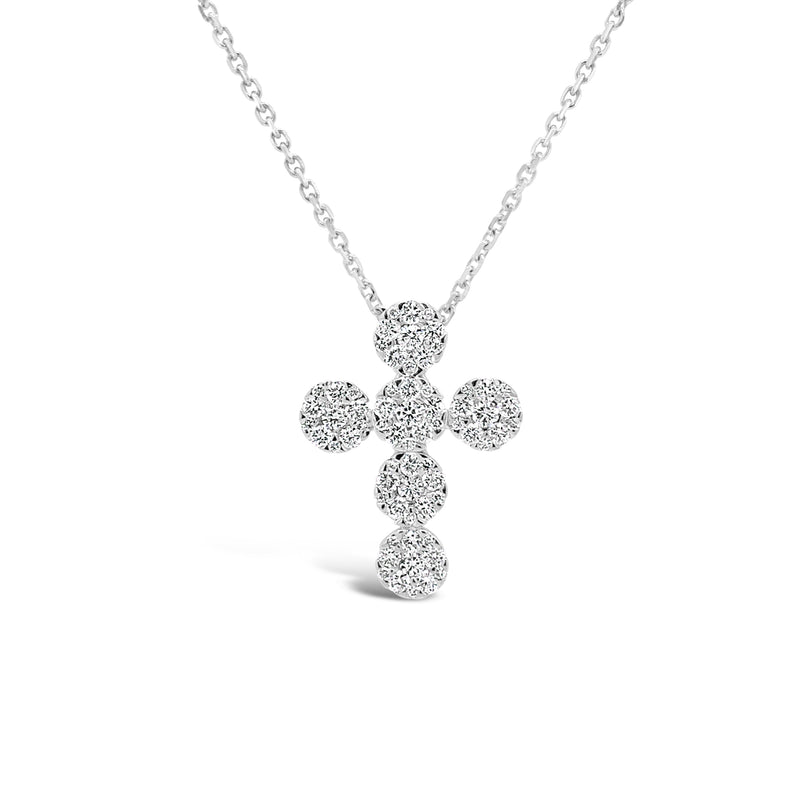 Pave Diamond Rounded Cross Pendant Necklace