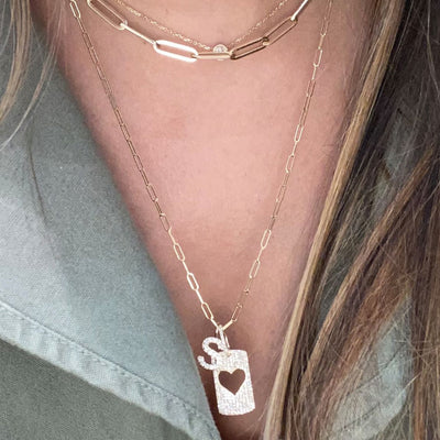 Diamond Open Heart Dog Tag Necklace