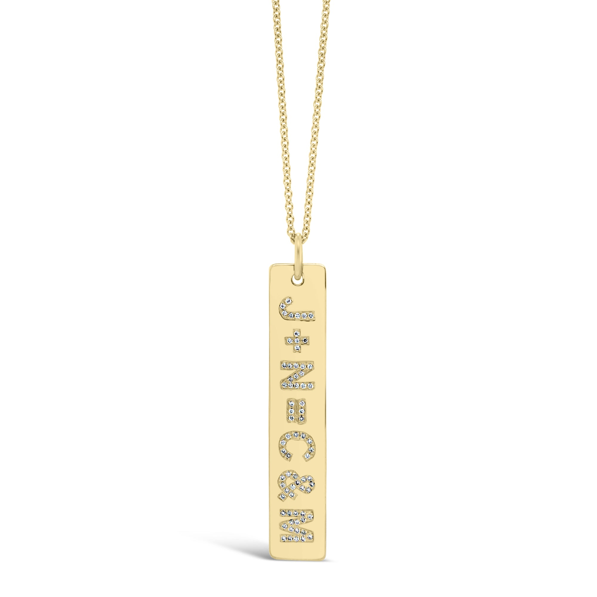 Diamond Initials Bar Pendant