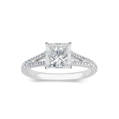 Princess Cut Diamond Engagement Ring with Split Shank