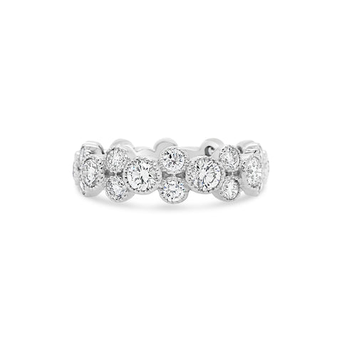 Alternating Bezel-Set Diamond Eternity Ring with Antique Milgrain