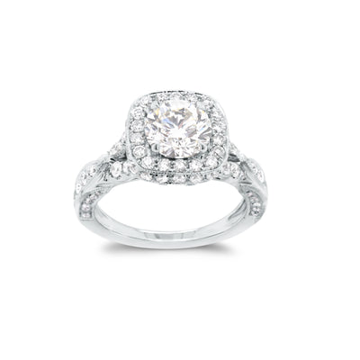 Round Halo Diamond Engagement Ring with Filigree