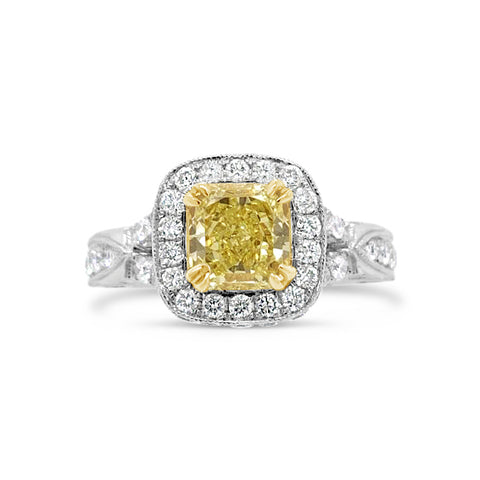 Intricate Setting Radiant-cut Yellow Diamond Engagement Ring