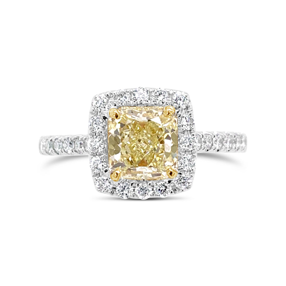 Radiant-cut Yellow Diamond Engagement Ring