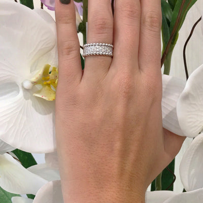 Two-tone Beaded Diamond Ring