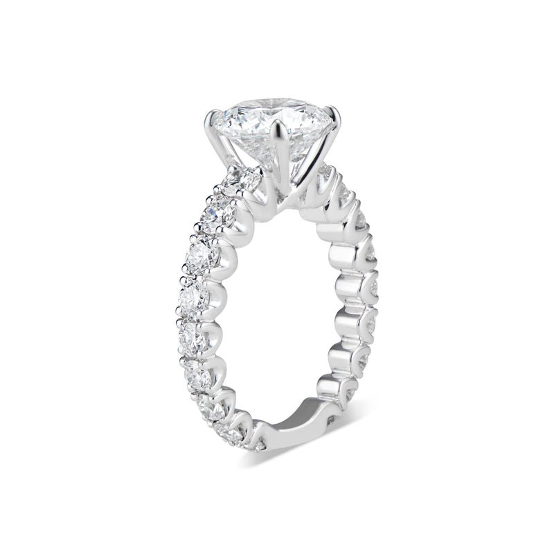 Round Diamond Engagement Ring with Diamond Band