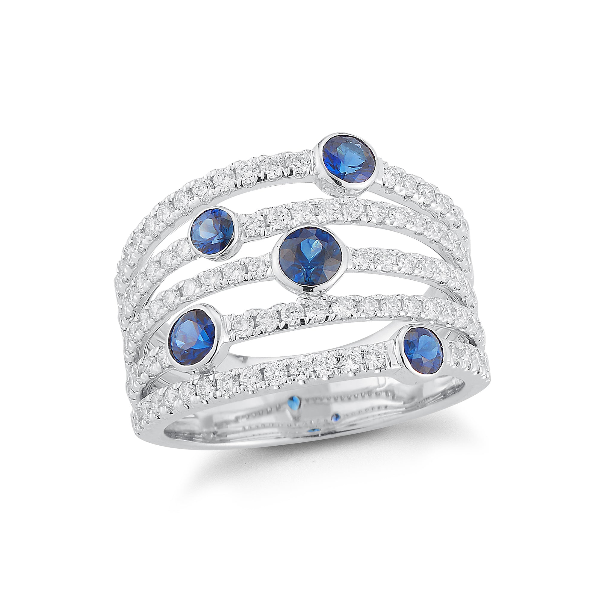 Blue Sapphire & Diamond Multi-row Band