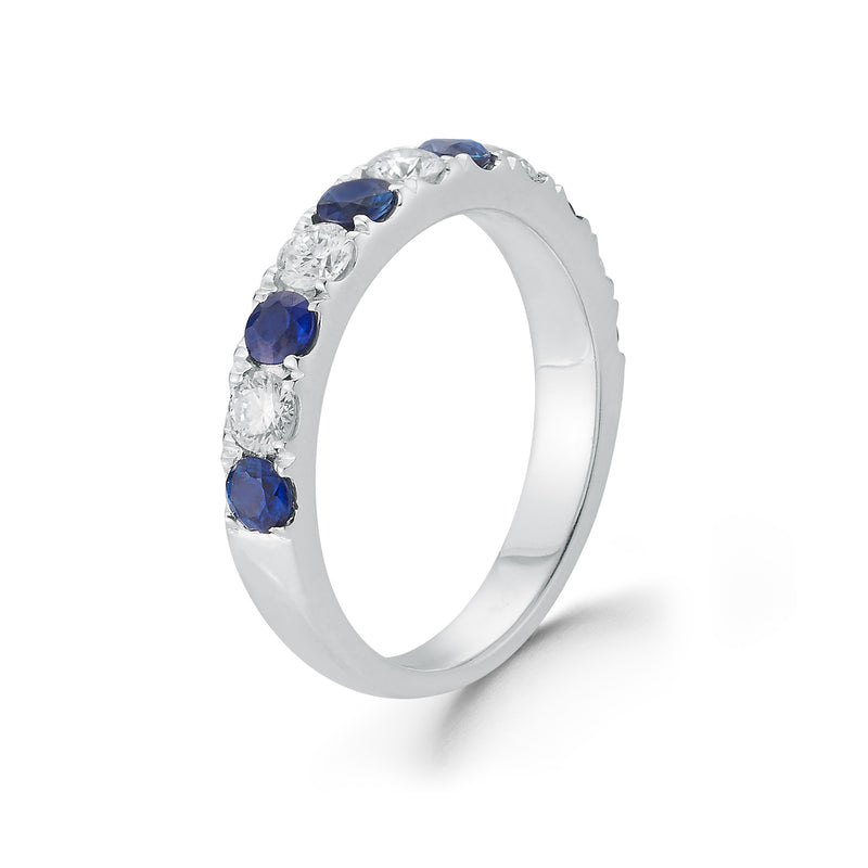 Alternating Sapphire & Diamond Wedding Band