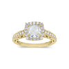 Cushion Halo Diamond Engagement Ring with Milgrain