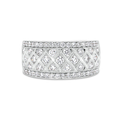 Diamond Trellis Pattern Fashion Ring