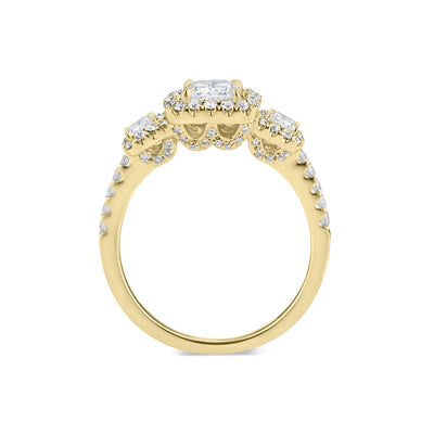Three-Stone Cushion Halo Diamond Engagement Ring