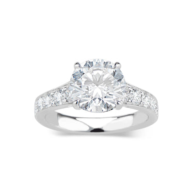 Round Diamond Engagement Ring with Diamond Shoulders