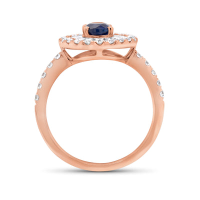 Sapphire Double Halo Ring