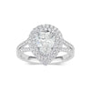 Pear Double Halo Diamond Engagement Ring with Split Shank