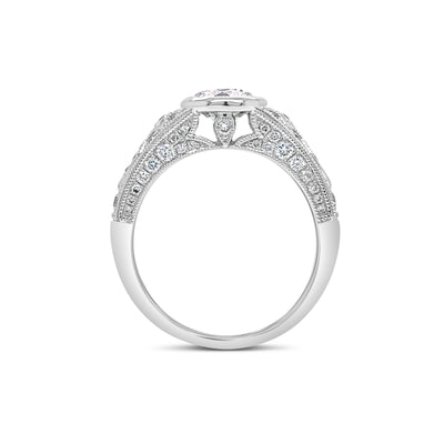Bezel-Set Diamond Engagement Ring with Milgrain