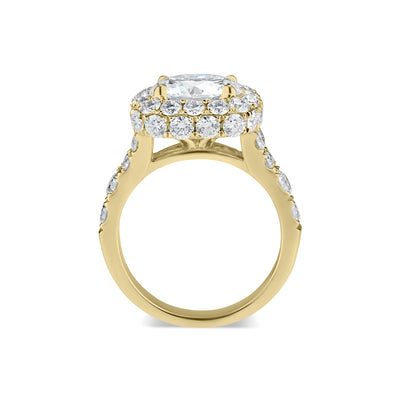 Cushion Double Edge Halo Diamond Engagement Ring