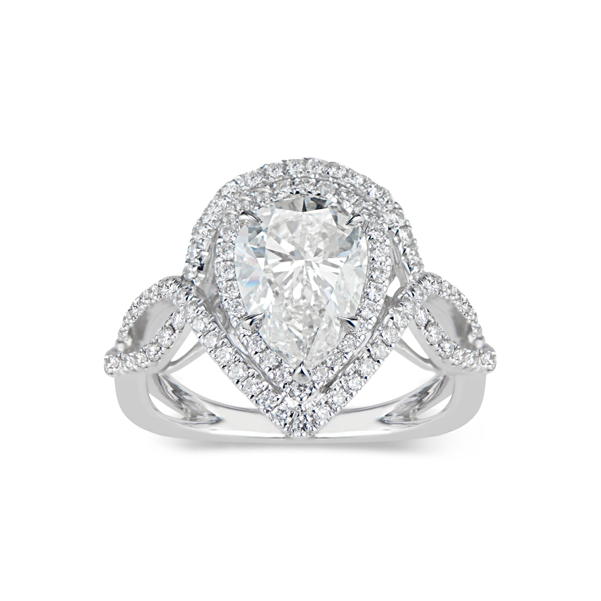 Pear Double Halo Diamond Engagement Ring with Twisted Shank