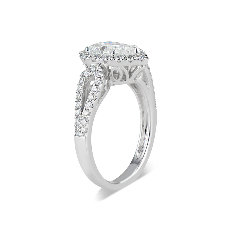 Pear Halo Diamond Engagement Ring with Open Loop Shank