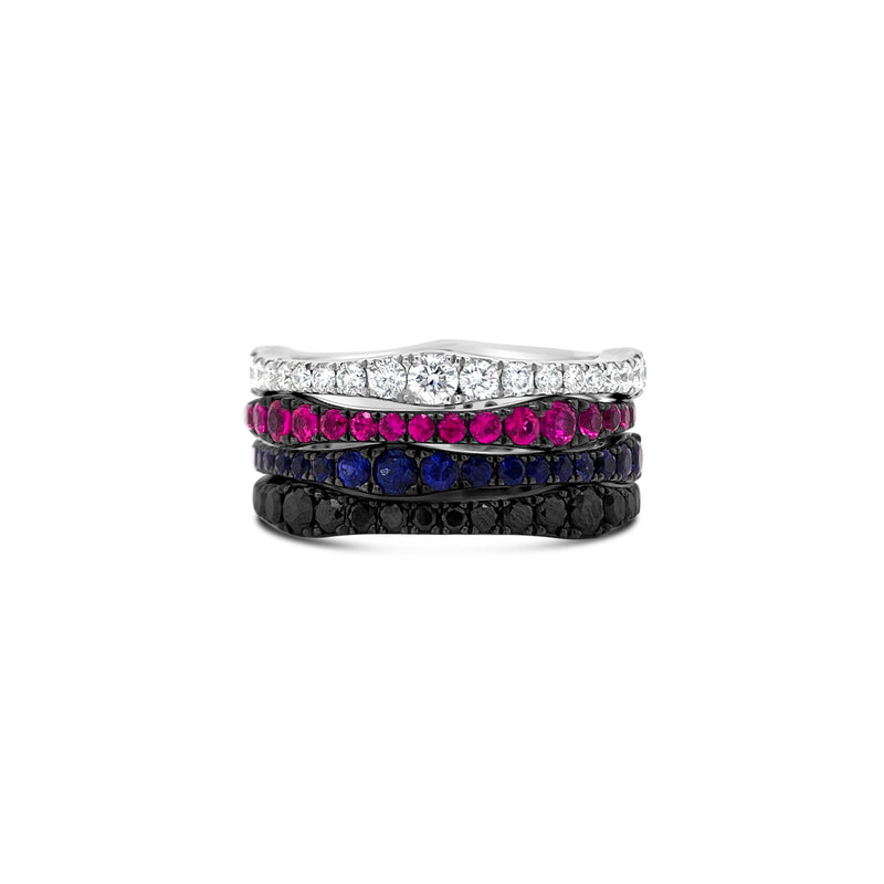 Pink Sapphire Curvy Eternity Band