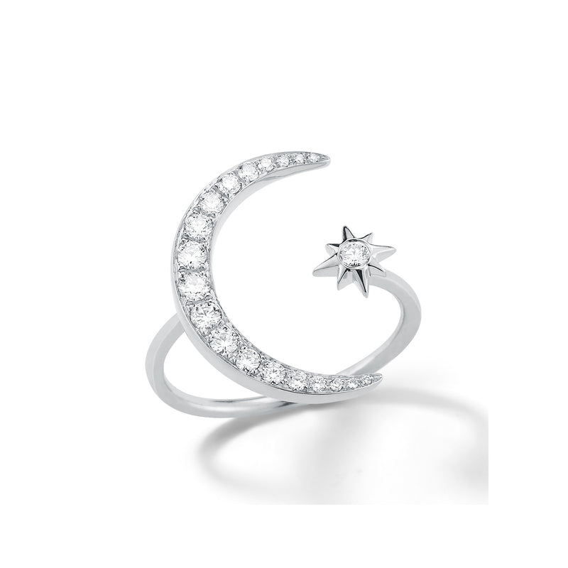 Crescent Moon and Star Diamond Ring