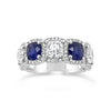 Cushion Cut Diamond and Sapphire Band