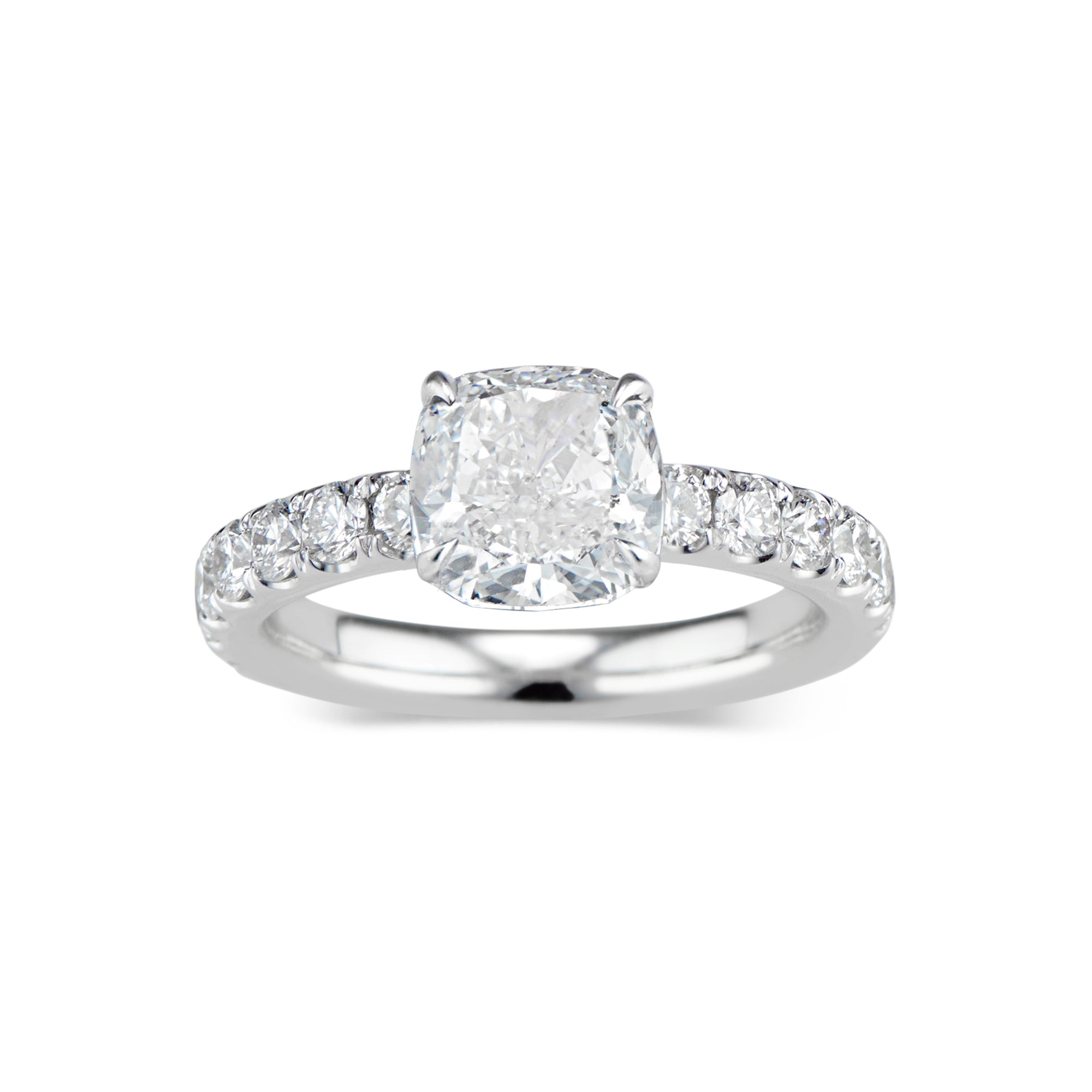 Cushion Diamond Engagement Ring with Diamond Shank
