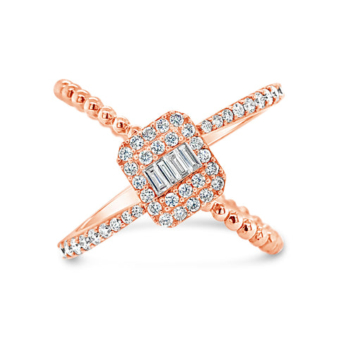 Diamond Criss-cross with Baguette Center Fashion Ring