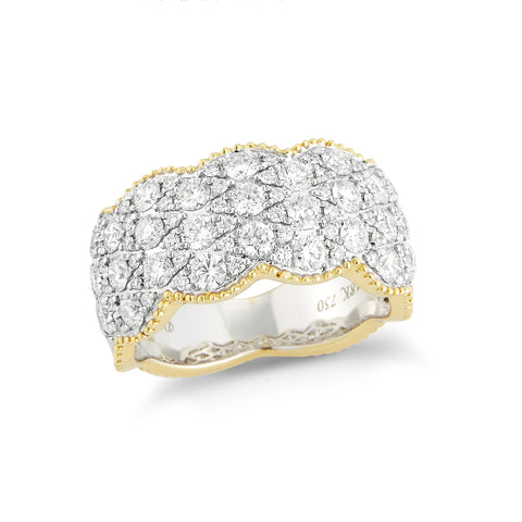 Beaded Gold Diamond Ring