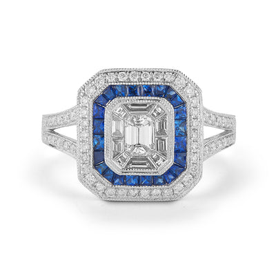 Emerald-cut Diamond & Sapphire Engagement Ring